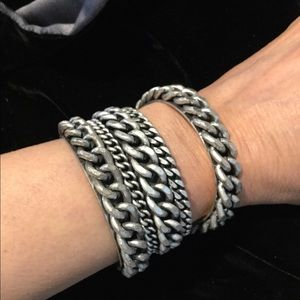 Jewelry - Gothic Silver Tone Bracelet Set